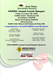 SDHBA State Annual Banquet @ TBA | Pierre | South Dakota | United States